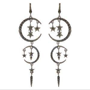 Eye Candy Moon & Stars Crystal Drop Earrings